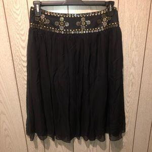 Black silk skirt w/gold accents around the waist M
